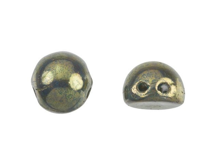 CzechMates 2-Hole 7mm Persian Turquoise Bronze Picasso Cabochon Beads 2.5-Inch Tube