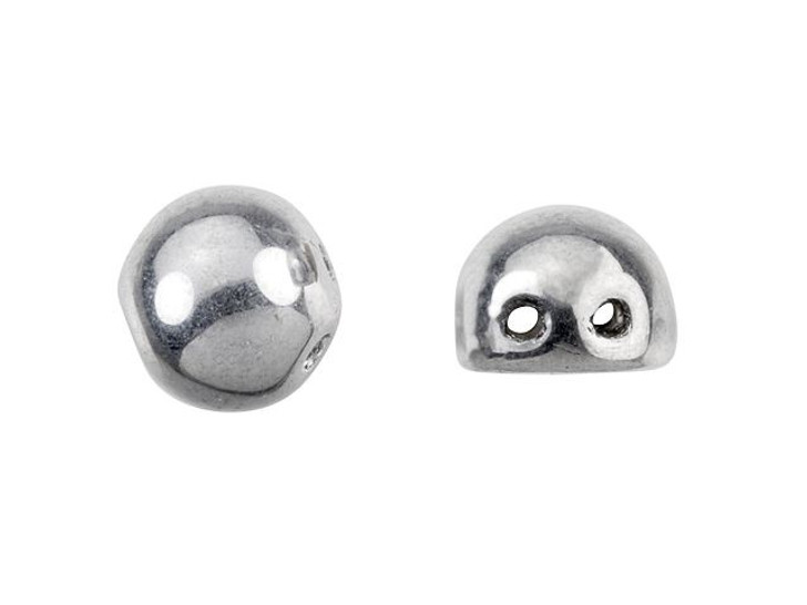 CzechMates 2-Hole 7mm Silver Cabochon Beads 2.5-Inch Tube