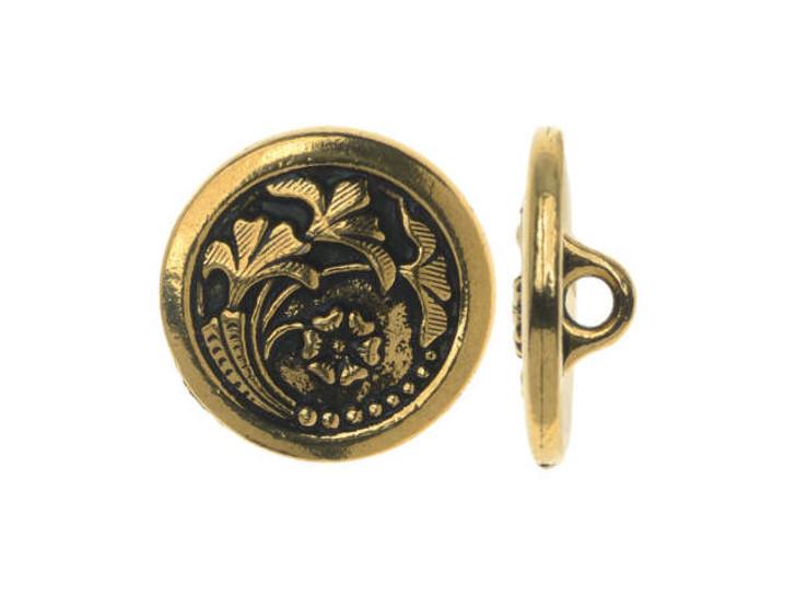 TierraCast Antique Gold-Plated Pewter Czech Flower Button