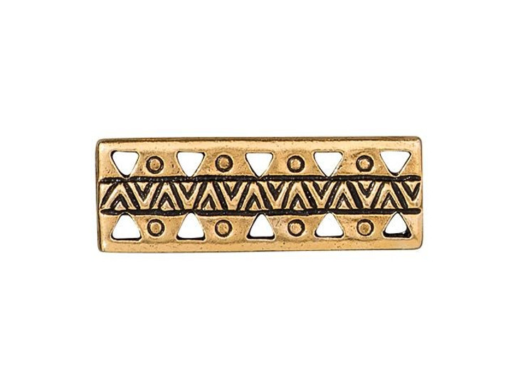 TierraCast Antique Gold-Plated Pewter Ethnic Bar Link