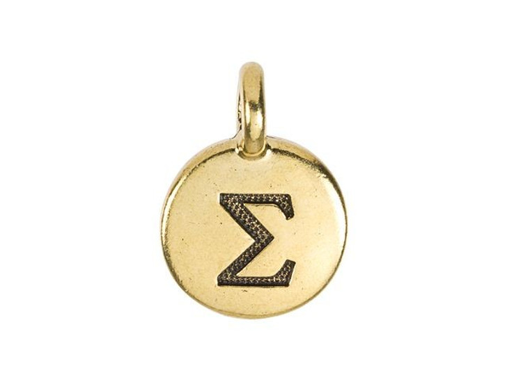 TierraCast Antique Gold-Plated Pewter Greek Letter Charm - Sigma
