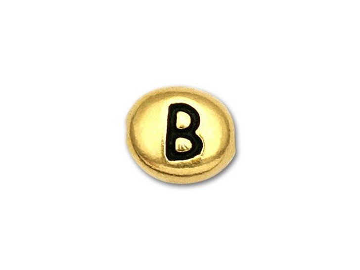 TierraCast Antique Gold-Plated Pewter Letter Bead - B