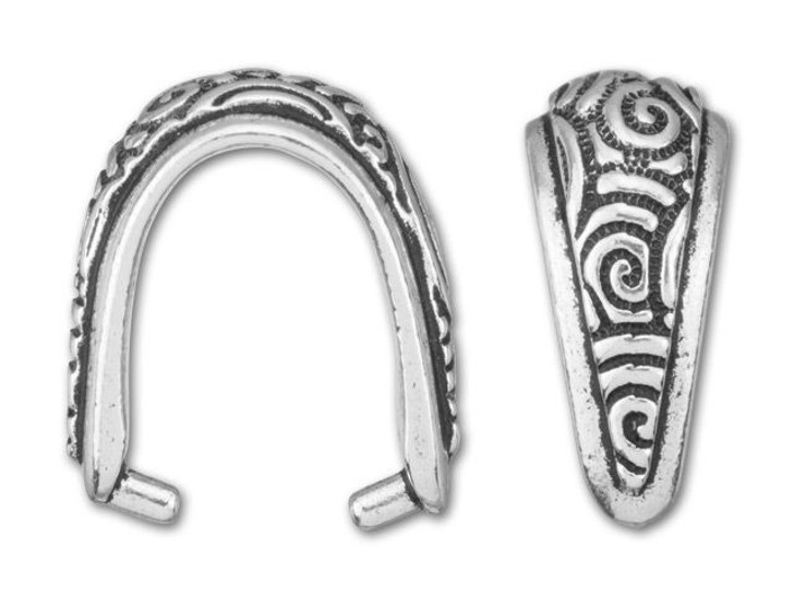 TierraCast Antique Silver-Plated Pewter Spiral Pinch Bail