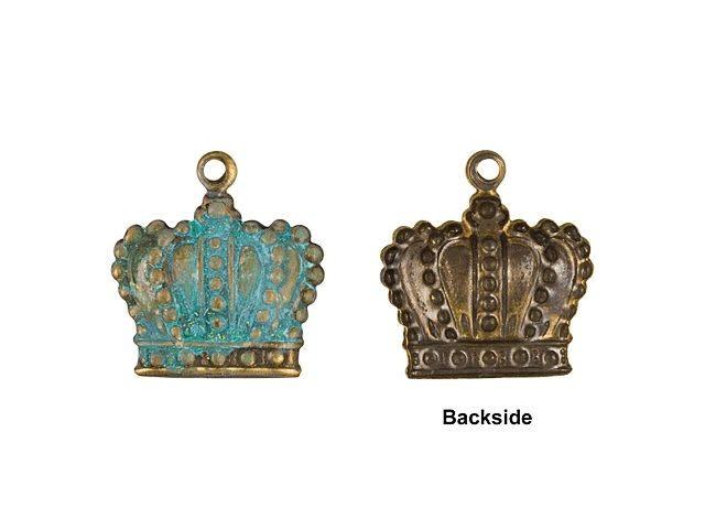 Metal Blue Patina Crown Pendant