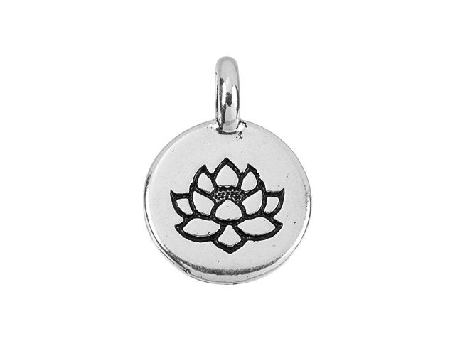 TierraCast Lotus Puffed Bead Antique Silver Plated Lead Free Pewter T631