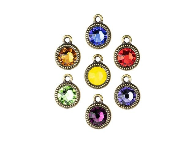 12mm Antique Gold TierraCast Beaded Button Bezel with Swarovski Crystal 12 Pcs