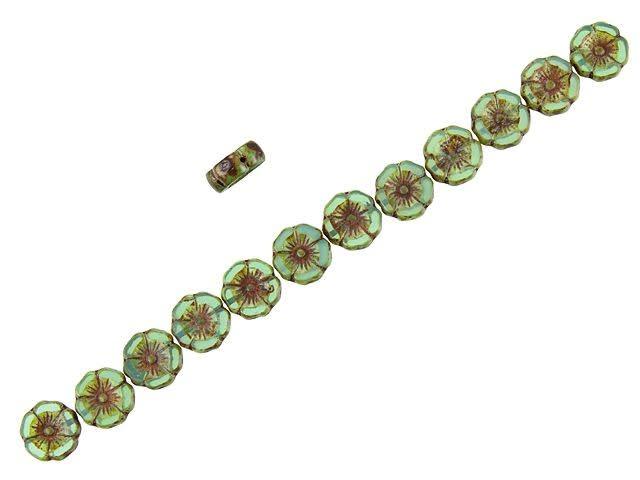 Multi strand beach necklace brass chain and leaf beads Czech aqua opalite picasso bicone beads toggle clasp Toho glass sead bead mix