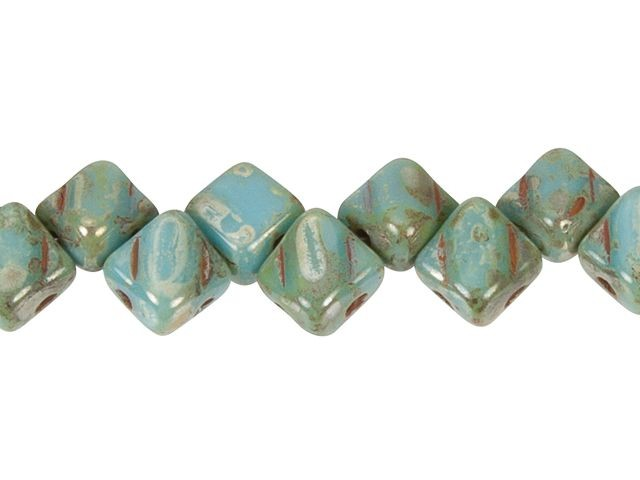 6mm Light Blue Turquoise Picasso Glass Square Stone in 2 Loop Setting