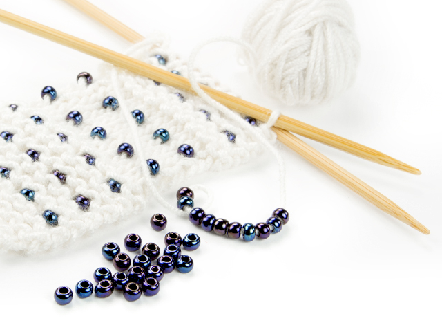 Image of knitting with beads