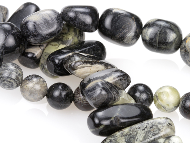 Image of black silver leaf jasper gemstones
