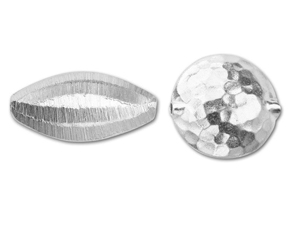 Brushed and Hammered Silver Beads