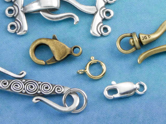 Image of various clasp shapes, sizes, and finishes