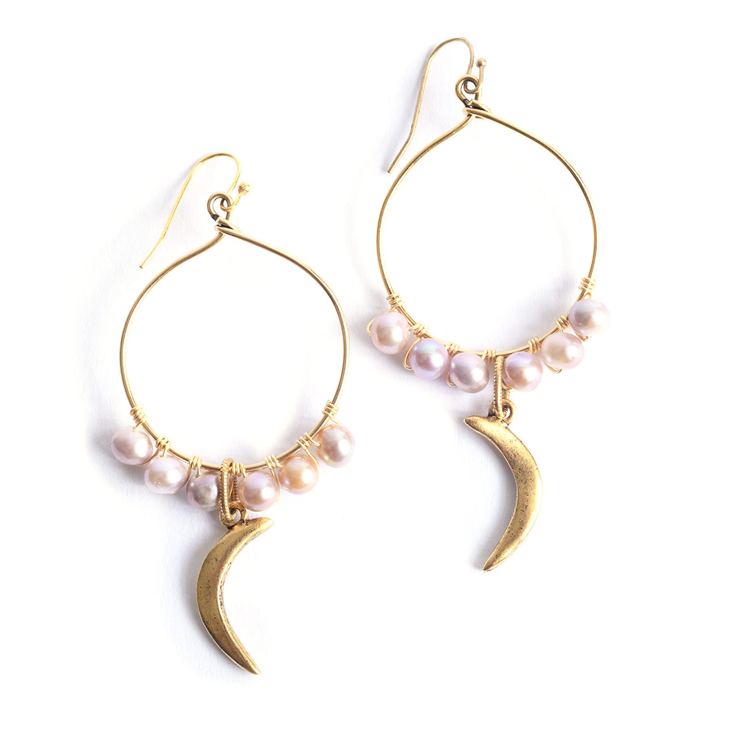 Wire-Wrapped Nunn Design Pearl Earrings