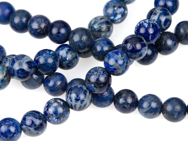 Image of dyed blue fossil coral gemstones