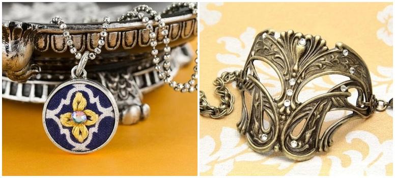 Flatback Necklace and Bracelet