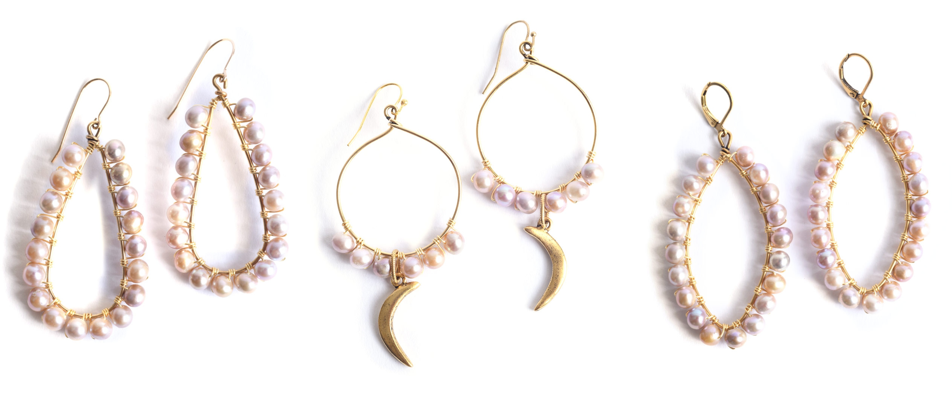 Wire-Wrapped Pearl Nunn Design Hoop Earrings