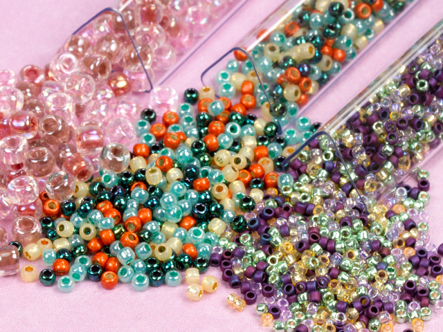Image of Artbeads Designer Seed Bead Blends. Left to right: Rose Petals, Tucson Sunset, Monet Nouveau