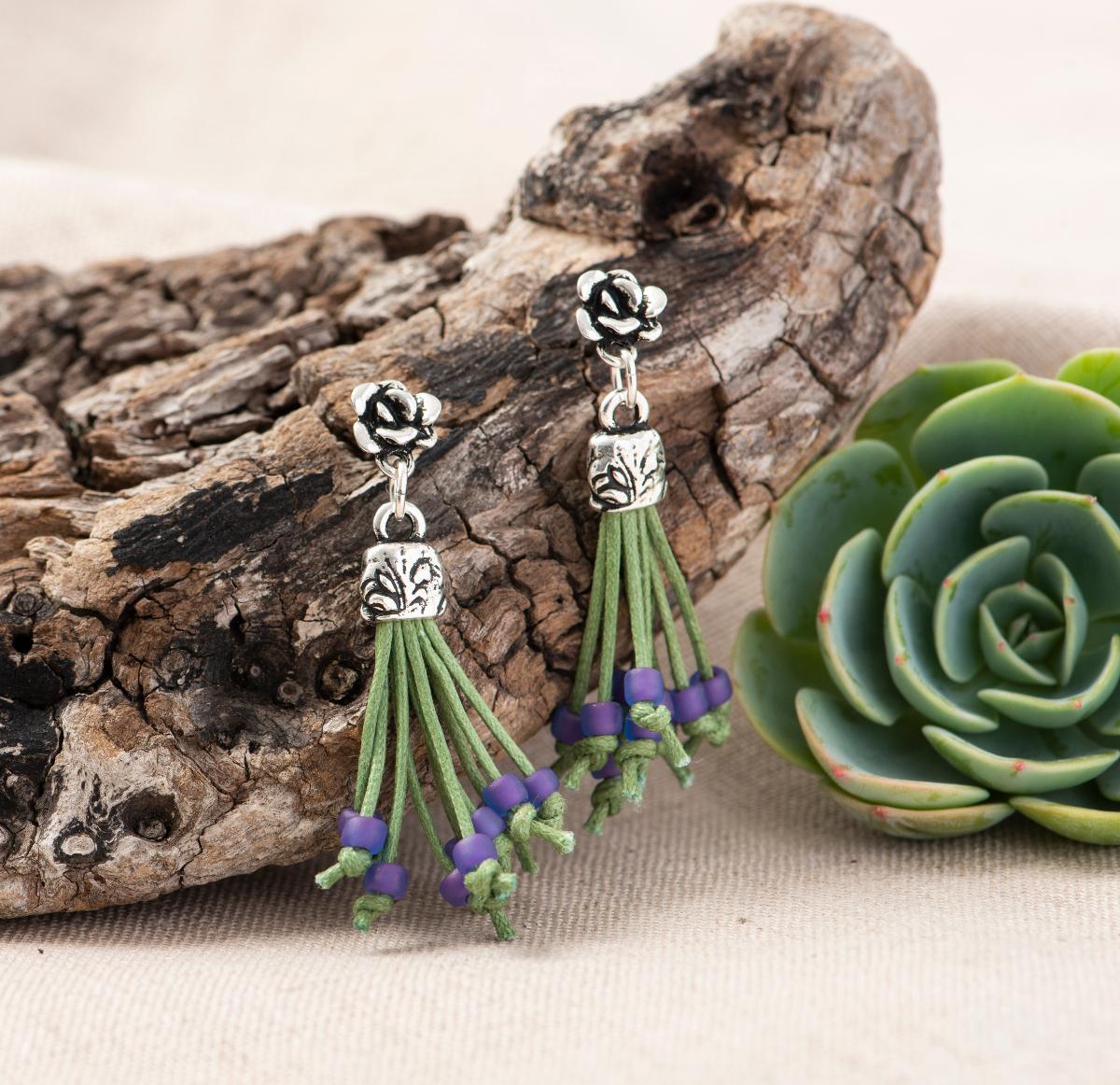 TierraCast Succulent Tassel Earrings