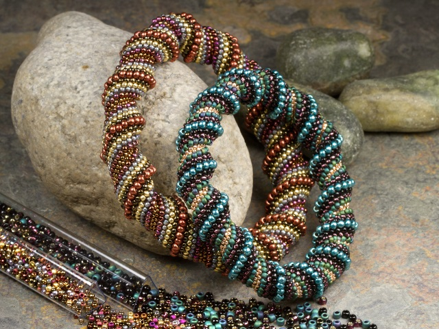 Image of the Spiraling Splendor bracelets using the Cellini spiral stitch technique