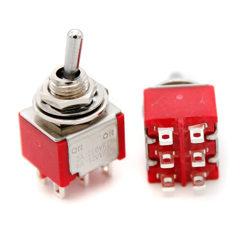 DPDT Toggle Switch ON/ON - Solder Lug - Short Bat