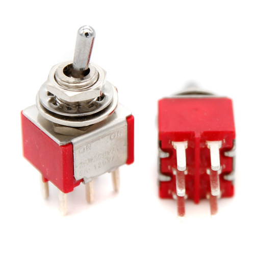 DPDT Toggle Switch ON/ON - PCB Pin - Short Bat