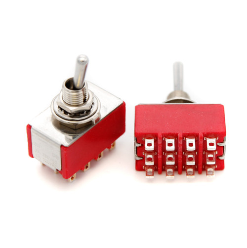 4PDT Toggle Switch ON/ON - Solder Lug - Long Bat