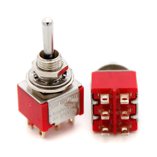 DPDT Toggle Switch ON/ON/ON - Solder Lug - Long Bat