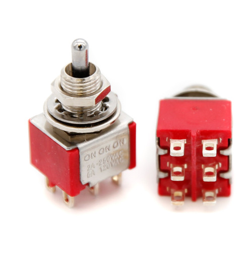DPDT Toggle Switch ON/ON/ON - Solder Lug - Short Bat - Tall Bushing