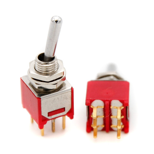 DPDT Sub-Mini Toggle Switch ON/ON - PCB Mount - Long Bat