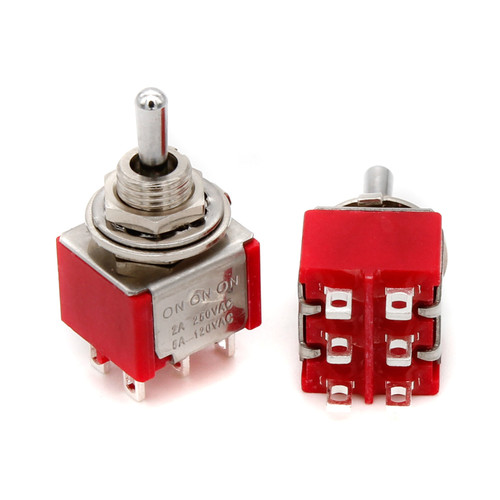 DPDT Toggle Switch ON/ON/ON - Solder Lug - Short Bat