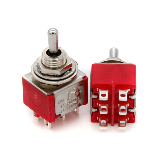 DPDT Toggle Switch ON/OFF/ON - Solder Lug - Short Bat