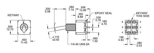 DPDT Toggle Switch ON/OFF/ON - Solder Lug - Short Bat