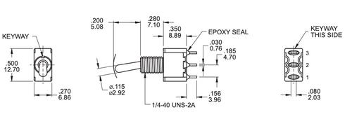 SPDT Toggle Switch ON/OFF/ON - Solder Lug - Short Bat