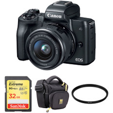 (129)  Canon EOS M50 Mirrorless Digital Camera with 15-45mm Lens and Accessory Kit (Black)