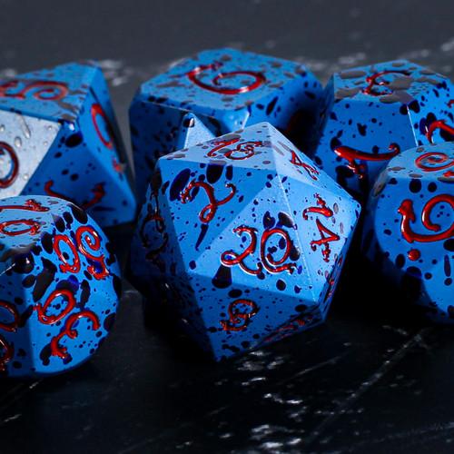 Wise Demon Blue Dragon Metal DnD Dice Set