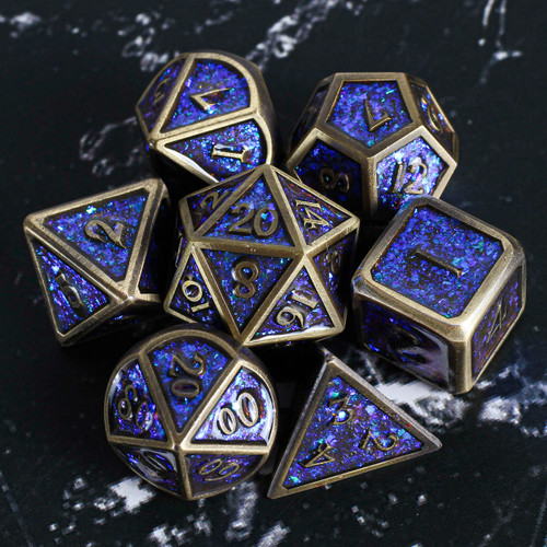 Ancient Spell of Blue Dragon Metal DnD Dice