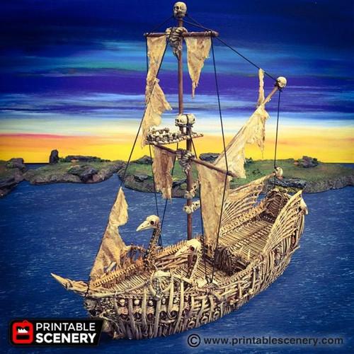 Undead Necromancer Fluyt Pirate Ship DnD Terrain