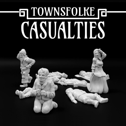 Medieval Town People Casualties DnD Miniature