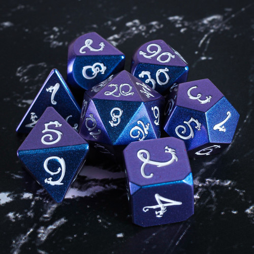 Stone of the Blue Dragon Metal DnD Dice Set