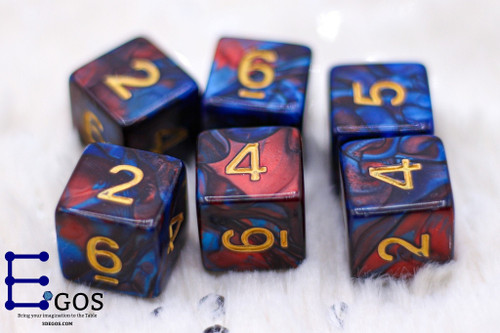 Fire Blue Stone D6 Only DnD Dice