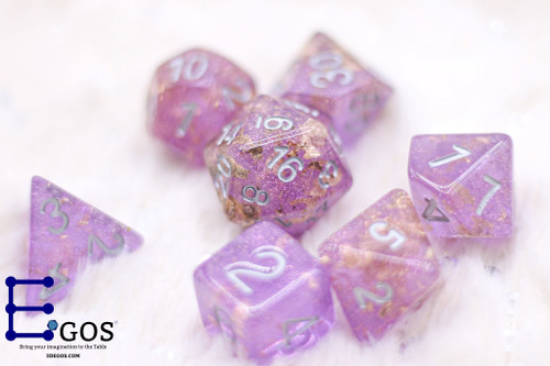 Purple Golden Crystal DnD Dice