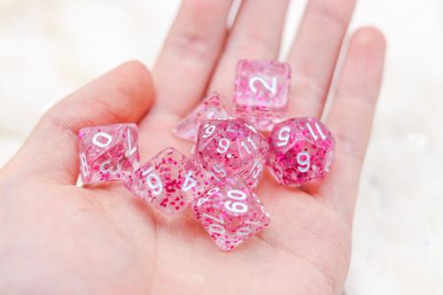 Pink Snow DnD Dice