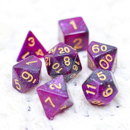 Purple Stars of Magic DnD Dice