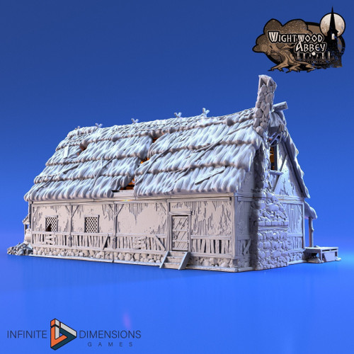 Wightwood Abbey Thatched Longhouse DnD Terrain