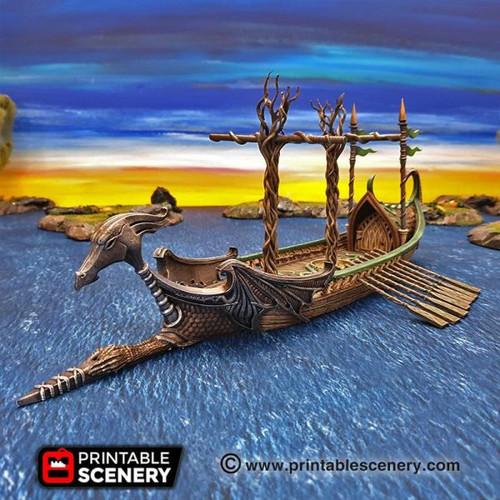Elven Dragon Galley Ship DnD Terrain