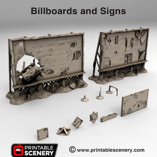 Ruined Billboards And Signs DnD Terrain