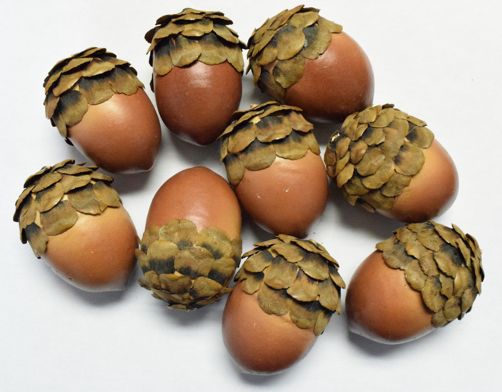 ACORN PINE CONE TOP - BROWN - 9 PC SET