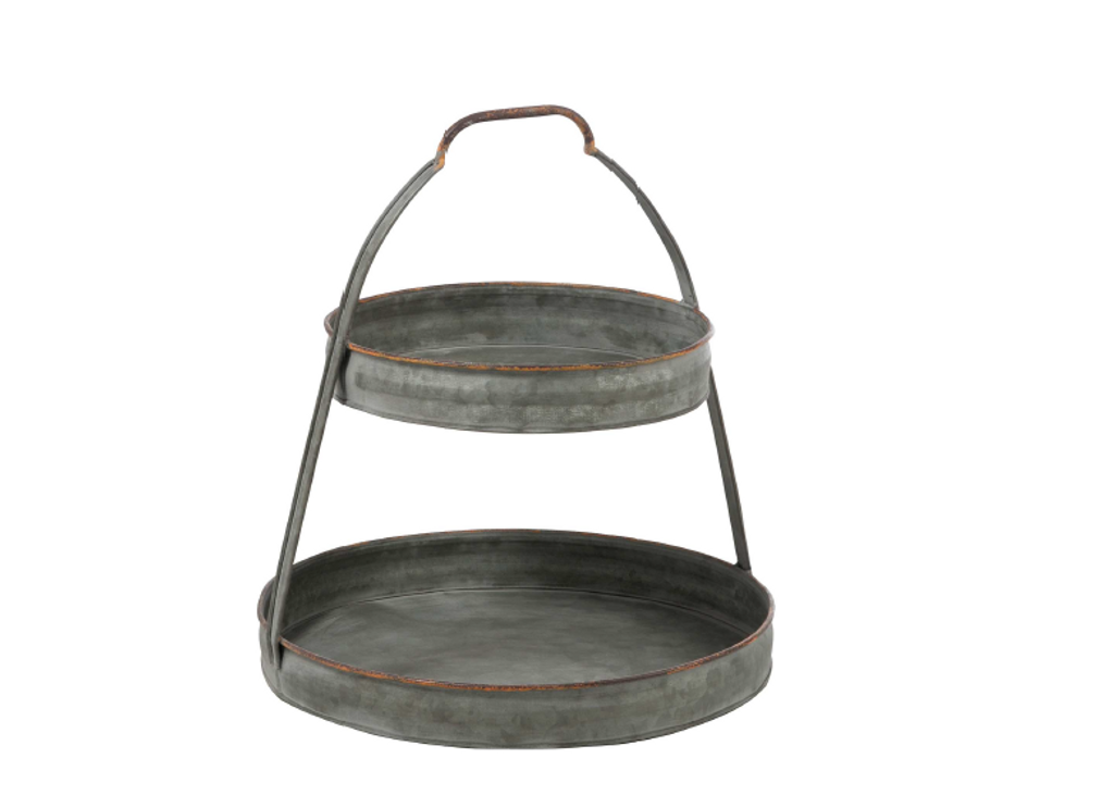 """GALVANIZED TWO-TIER STAND - 14 x 15"""""""