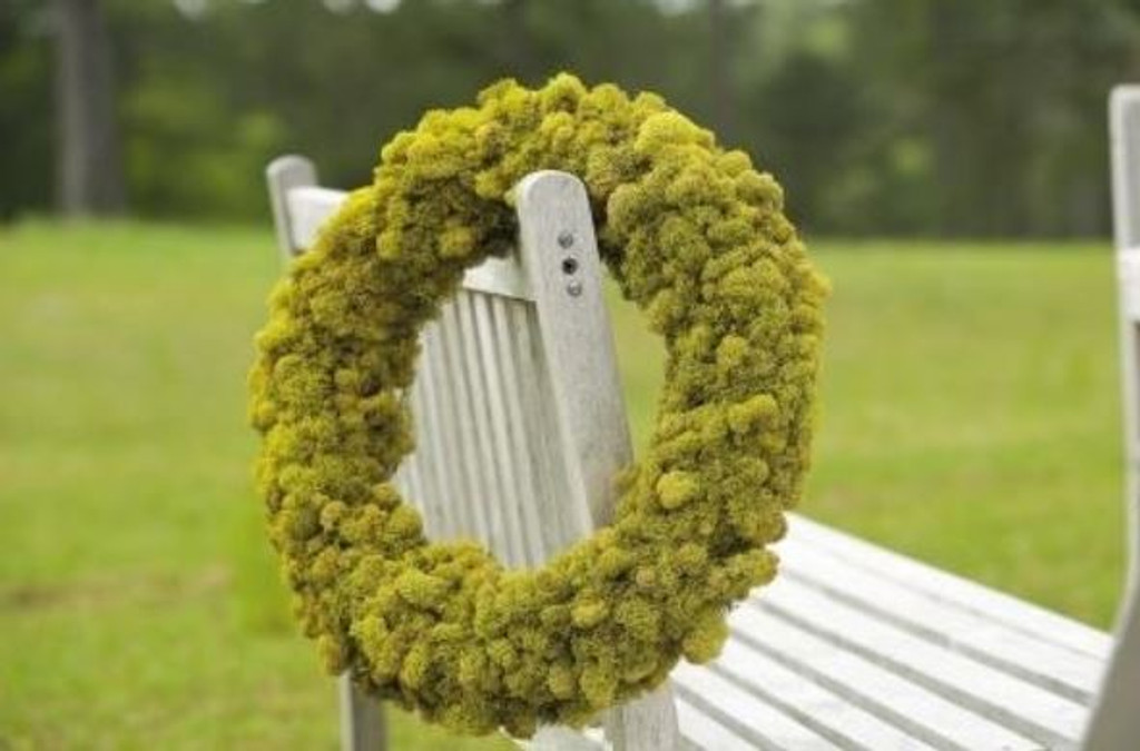 REINDEER MOSS WREATH CHARTREUSE -  PACKED 1