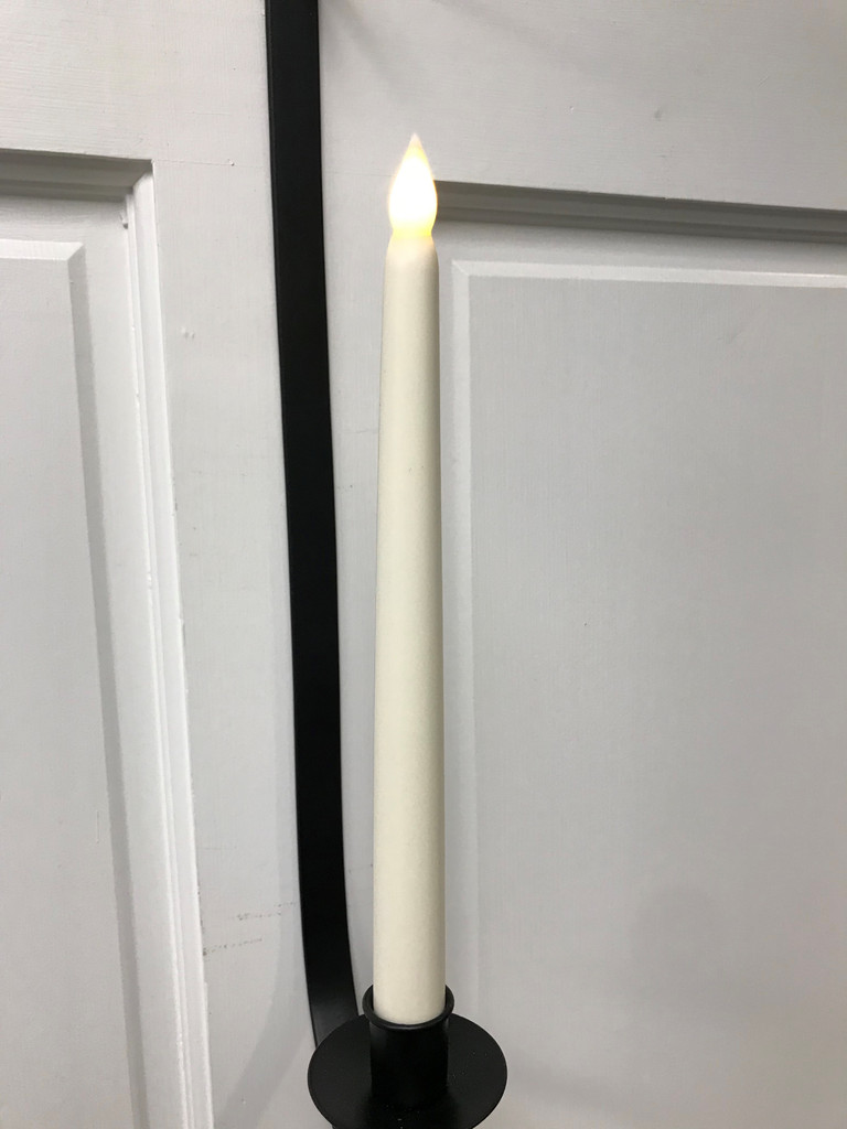 "FLAMELESS TAPER CANDLE 10"" IVORY"